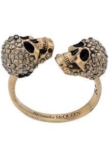 Alexander Mcqueen Skull Embellished Ring - Dourado