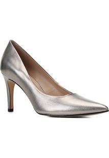 Scarpin Couro Shoestock Graciela Salto Alto Bico Fino - Feminino-Prata+Preto