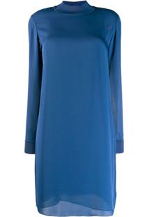 Theory Mock Neck Shift Dress - Azul