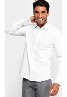 Camisa Rg 518 Piquet Bordada Masculina - Masculino-Branco