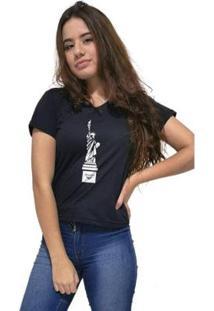 Camiseta Gola V Cellos New York Premium Feminina - Feminino-Preto
