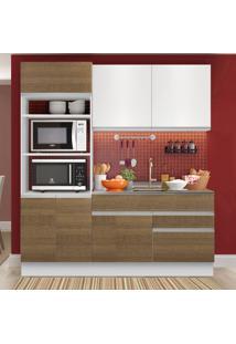 Cozinha Compacta 6 Portas Glamy Lívia Rustic/Branco - Madesa