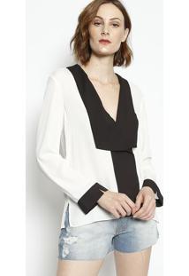 Camisa Transpassada- Off White & Pretaenna