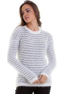 Suéter Kinara Pelinhos Listrado Feminina - Feminino-Branco