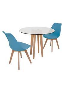 Conjunto Mesa De Jantar Em Vidro 90Cm Com Base Vértice + 2 Cadeiras Leda - Turquesa