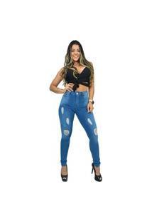 Calça Jeans Destmoda Skinny Cintura Alta Rasgadinha Azul