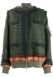 Sacai Jaqueta Oversized De Tweed Com Sobreposição - Verde