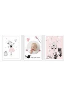Quadro 30X60Cm Infantil Lembrança Bebê Menina Moldura Preta Sem Vidro Decorativo