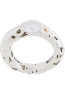 E.M. Single Gem Ring - Metálico