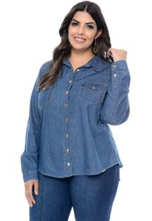 Camisa Cambos Jeans Plus Size Classic Azul