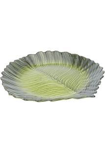 Prato Para Servir Formato De Folha Verde Em Vidro - Dekor Cam - 40X5 Cm