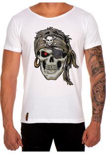 Camiseta Lucas Lunny T Shirt Gola Canoa Estampada Caveira Pirata Branco