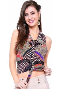 Camisa Estilo Boutique Colleto Cropped Multicolorido