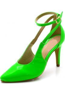 Sapato Scarpin Aberto Salto Alto Fino Em Napa Verniz Verde Neon - Kanui