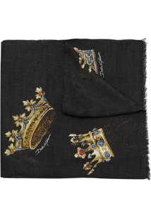Dolce & Gabbana Lenço Estampado Com Cashmere - Preto