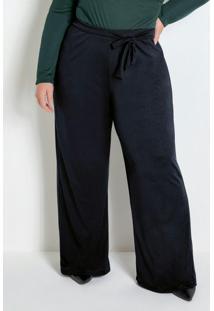 Calça Pantalona Preta Com Amarração Plus Size