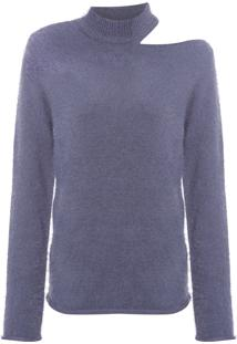 Blusa Feminina Twist Vazado Ombro - Azul