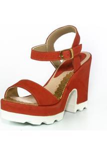 Sandã¡Lia Feminina Top Franca Shoes Salto Grosso Vermelho - Vermelho - Feminino - Dafiti
