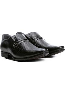 Sapato Social Couro Pegada Com Fivela - Masculino-Preto