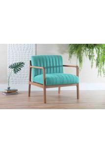 Poltrona Confortável Com Braços Canela - Verniz Amendoa Tec.950 Cor Azul Turquesa 69X71X79 Cm