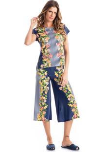 Pijama Liz C/ Pantacourt Azul Marinho/G