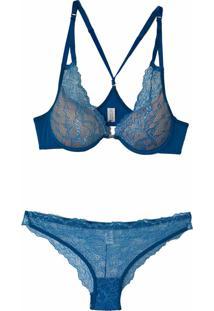 Conjunto Nadador Em Renda Cor: Azul Petróleo - La141 Dica De Lingerie