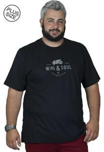 Camiseta Bigshirts Estampa Motorcycle Preta