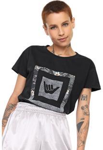 Camiseta Hang Loose Estampada Preta