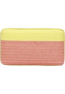 Clutch Tranã§Ada- Amarelo Neon & Marrom Claro- 9,5X17Schutz