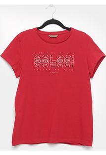 Camiseta Colcci Básica Logo Feminina - Feminino-Vermelho