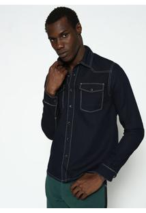 Camisa Jeans Com Pespontos - Azul & Azul Escurocalvin Klein