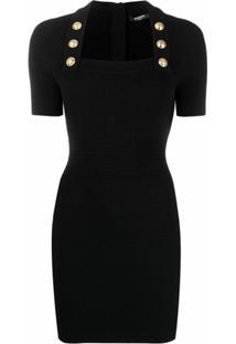 Balmain Vestido Slim Com Decote Quadrado - Preto