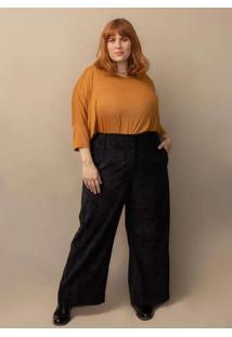Calça Alfaiataria Pantalona Veludo Cotelê Plus Siz