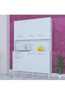 Cozinha Compacta 6 Portas 1 Gaveta Kit Carine 466 Branco - Poquema