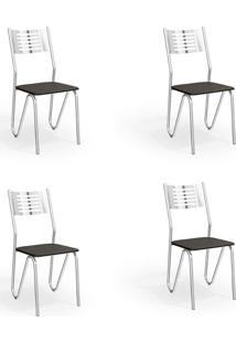 Conjunto Com 4 Cadeiras De Cozinha Napoles Cromado E Preto