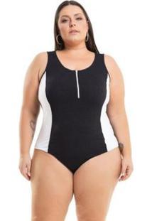 Body Beline Plus Size Viscolycra Com Detalhe Em Zíper Miss Masy - Feminino-Preto