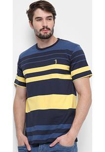 Camiseta Aleatory Listrada Masculina - Masculino-Marinho+Amarelo