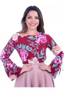 Blusa Miss Lady Viscose Floral Bordô