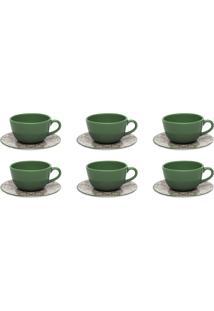Conjunto 6 Xícaras De Chá Com Pires Oxford Unni Linen Marrom/Verde