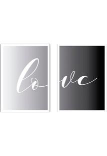 Conjunto De Quadros Decorativos Love Ii Cinza E Preto (33X24)