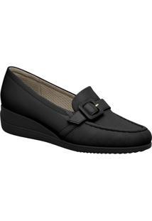 Loafer Anabela Com Fivela - Preto - Salto: 4Cmpiccadilly