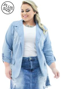 Blazer Jeans Feminino Alongado Aberto Plus Size