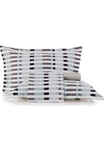 Jogo De Cama King Altenburg All Design New Poliéster Duo Grid - Cinza