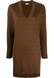 Fendi Suéter Longo Com Logo Ff - Marrom