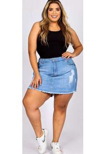 Shorts Saia Almaria Plus Size Fact Jeans Azul