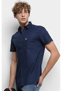 Camisa Manga Curta Tommy Jeans S/S Solid Poplin Shirt Masculina - Masculino-Azul