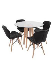 Conjunto Mesa De Jantar Em Vidro 90Cm Com Base Vértice + 4 Cadeiras Slim - Preto