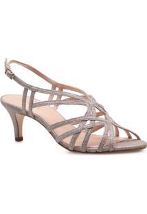 Sandalia Feminina Corello Kitten Heel Disco Mini Glitter Corello Sandalia Dourado