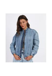 Jaqueta Jeans Feminina Bomber Com Zíper Azul Claro