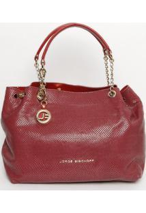 Bolsa Em Couro Com Bag Charm - Vinho - 30X35X16Cmjorge Bischoff
